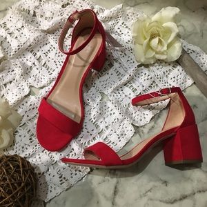 A new day women's red chunky heel strap sandals